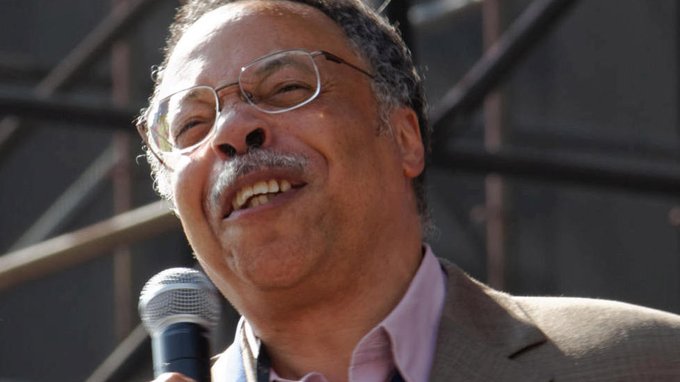 George Elliot Clarke recites poetry in Nathan Phillips Square during the opening of the 2015 Pan American Games