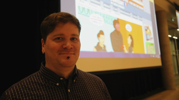 Jeph Jacques after his talk on webcomics at the Halifax Central Library on Wednesday.