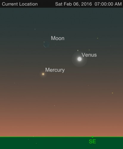 The positions of Mercury, Venus and the moon on Feb. 6.