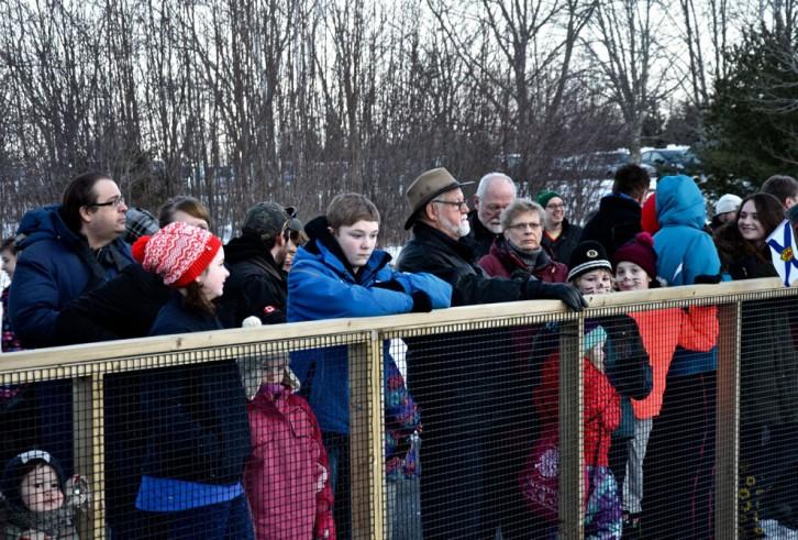 Crowds gather around wooden groundhog enclosure.