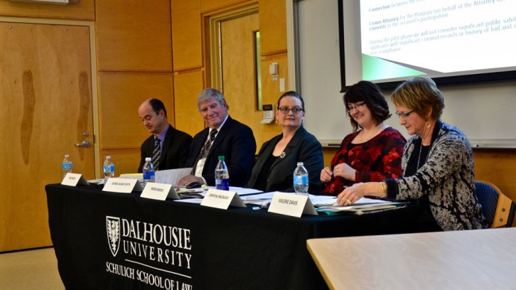 The panel, from left to right: Ken Greer, Alan Tufts, Ingrid Brodie, Chrystal MacAulay, Valerie Davis