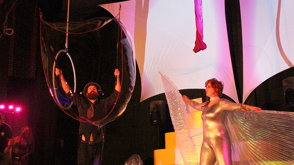 Mike MacDougall of the Jugglin Bubblers creates a large bubble on stage during a dress rehearsal of 2016: A Space Oddity.