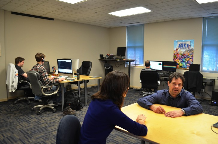 Antoine Tremblay chats with  Kaitlyn Tagarelli at Copernicus Labs