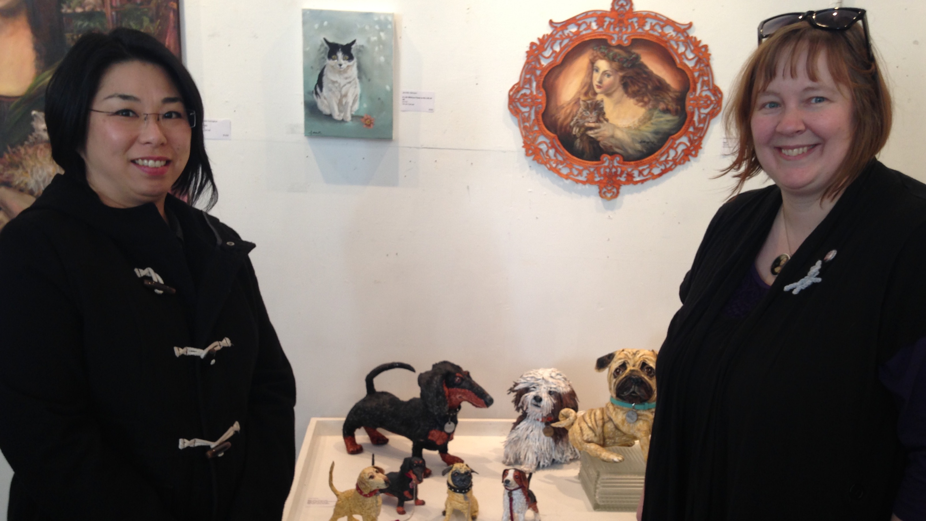 Local artist Yoko White and Argyle Fine Art owner Adriana Afford at this year's Cat person. Dog person. Whatchamacallit show.