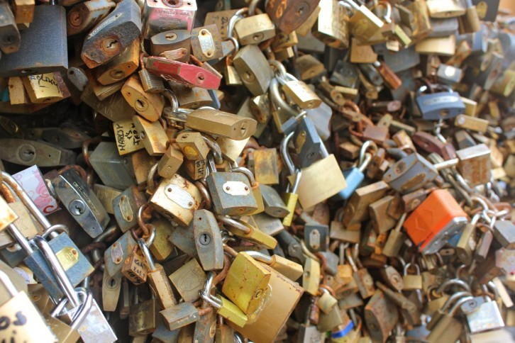 A collection of locks in Pecs, Hungary symbolizing the strength of true love.