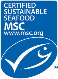 The Marine Stewardship Council's ecolabel, found on all certified sustainable seafood.
