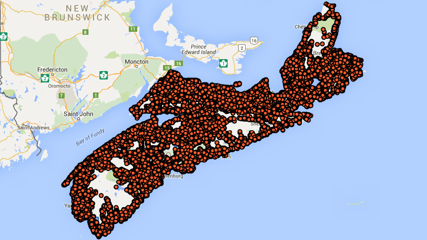 A map showing the civic addresses in Nova Scotia.