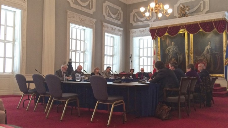 The standing committee on public accounts meeting in the Red Chamber of Province House