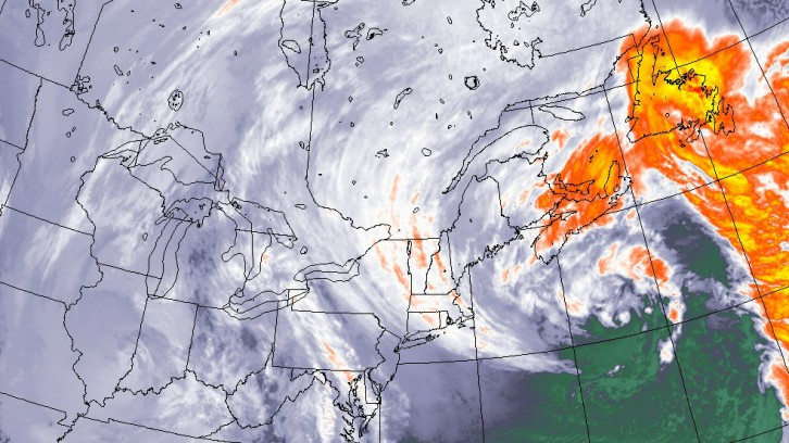 A map of the east coast showing a large storm over Nova Scotia