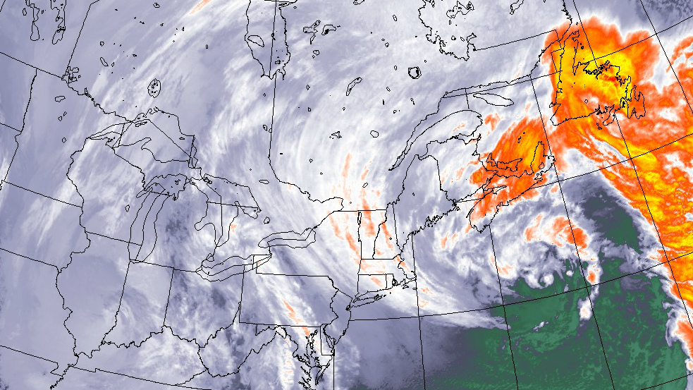Satellite imagery captured at 6:45 pm showing the winter storm directly over Nova Scotia.