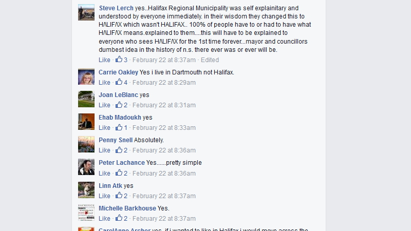 "Members from the We Love Dartmouth Nova Scotia Facebook group respond to a CBC article titled ""Should the Halifax logo signs and flags be removed from Dartmouth?"""