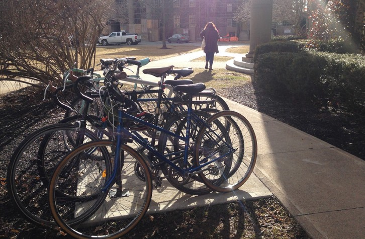 A rack of bikes parked outside the University of King's College.