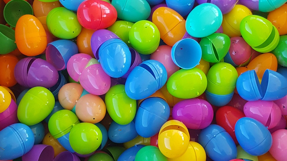 The easter egg dash used some 3,500 plastic eggs.