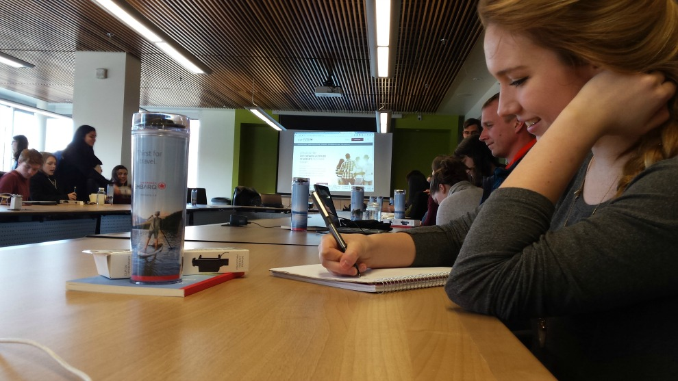 Students at a Dalhousie talk on travel earlier this week.