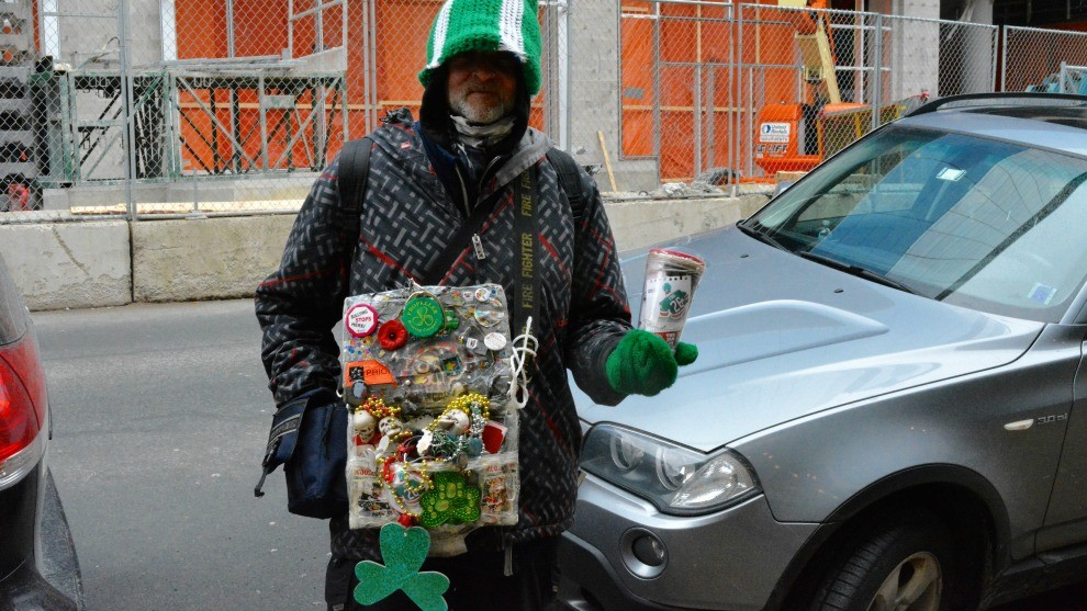 Man on the street decked out for St Patrick's Day.