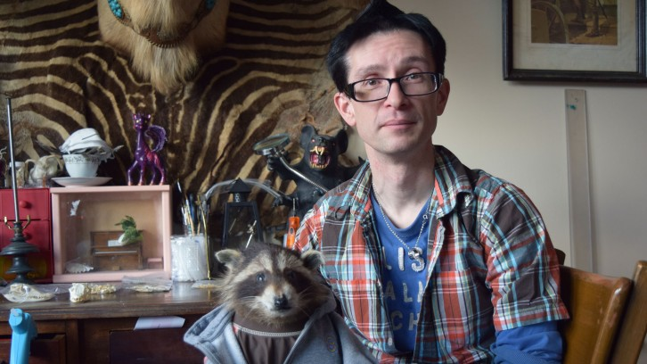 Doug Hillman does taxidermy in his apartment in Halifax.