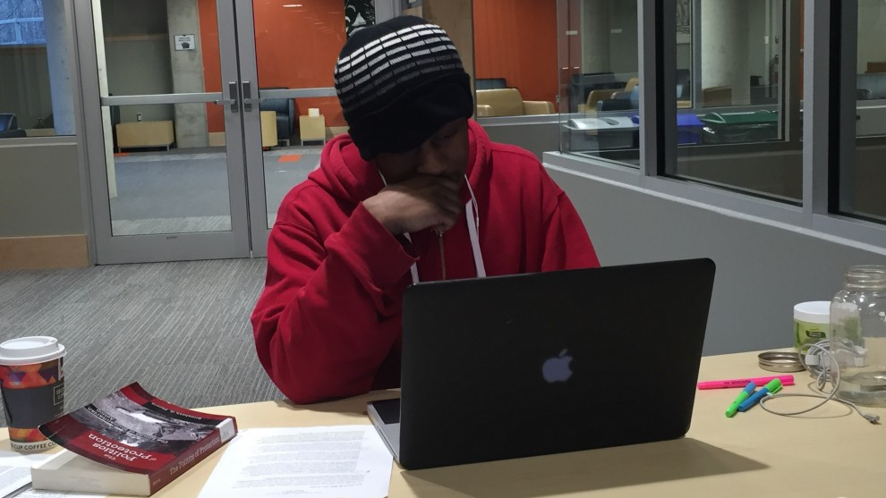 A student studies at Dalhousie University.