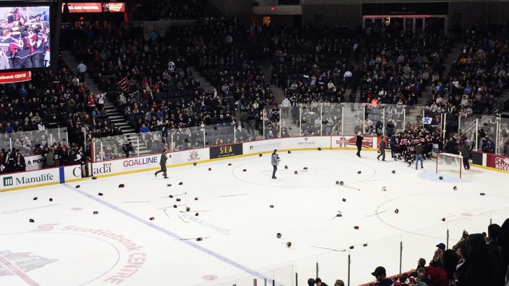 Sticks and helmets litter the ice as UNB celebrates their victory.