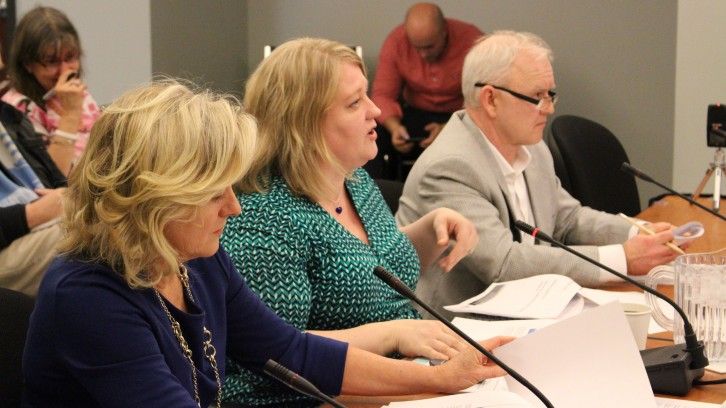 Janet Nearing (left) and Lynn Hartwell (middle) addressing provincial government