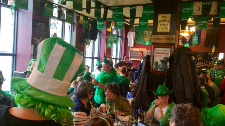 The Irish alehouse was a sea of green in honour of the nation's patron saint.