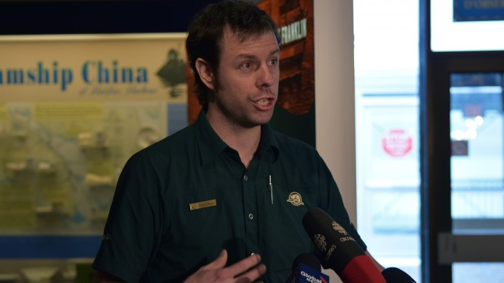 Thierry Boyer, an underwater archeologist with Parks Canada, speaks at the opening of the Franklin expedition exhibit.