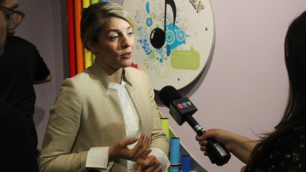 Mélanie Joly speaks to reporters after the announcement.