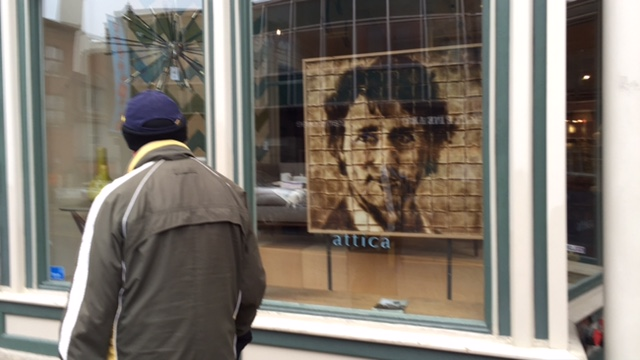 The portrait is currently on display in the window of Attica furniture