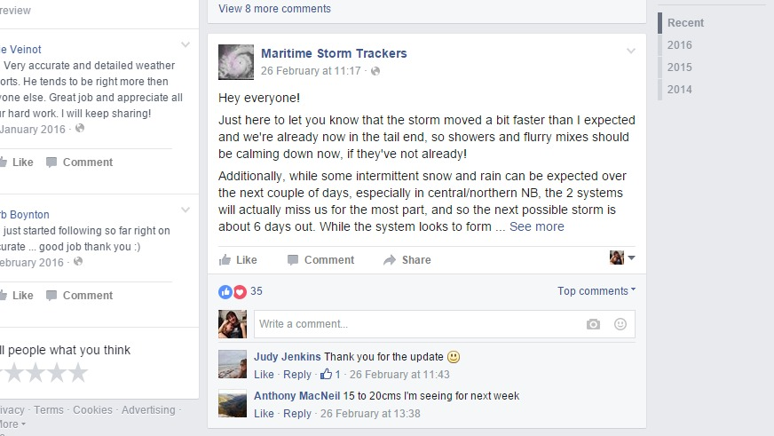Comments on the Maritime Storm Trackers Facebook page.