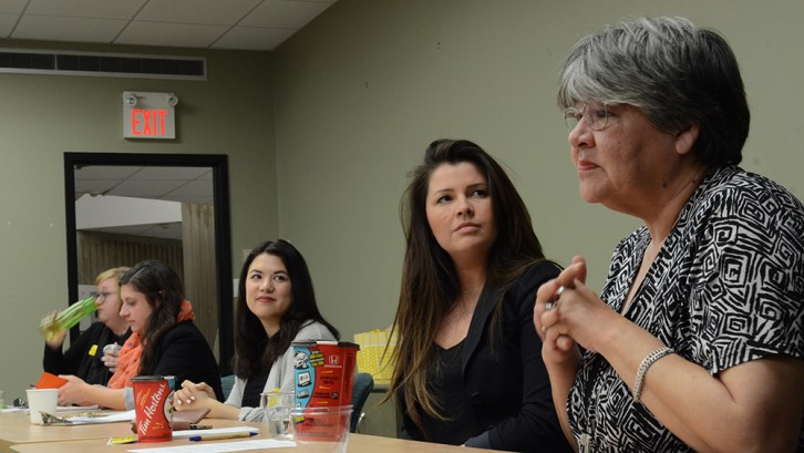 From right to left: Patti Doyle-Bedwell, professor of indigenous studies at Dalhousie University, Natalie Clifford, lawyer at Clifford Shiels Legal, Michaela Sam, Canadian Federation of Students – Nova Scotia, Joanna Hussey, 2015 Halifax West NDP candidate, and Tammy Findlay, professor of political and Canadian studies.