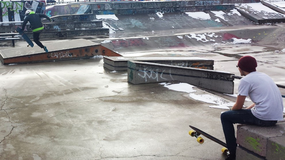 Snow doesn't stop some local skateboarders.