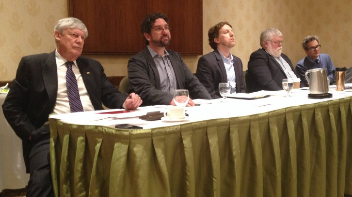 From left: Colin Dodds, Howard Ramos, Jon Penney and Robert Finbow answer questions from moderator Brian Bow, far right, and audience members.