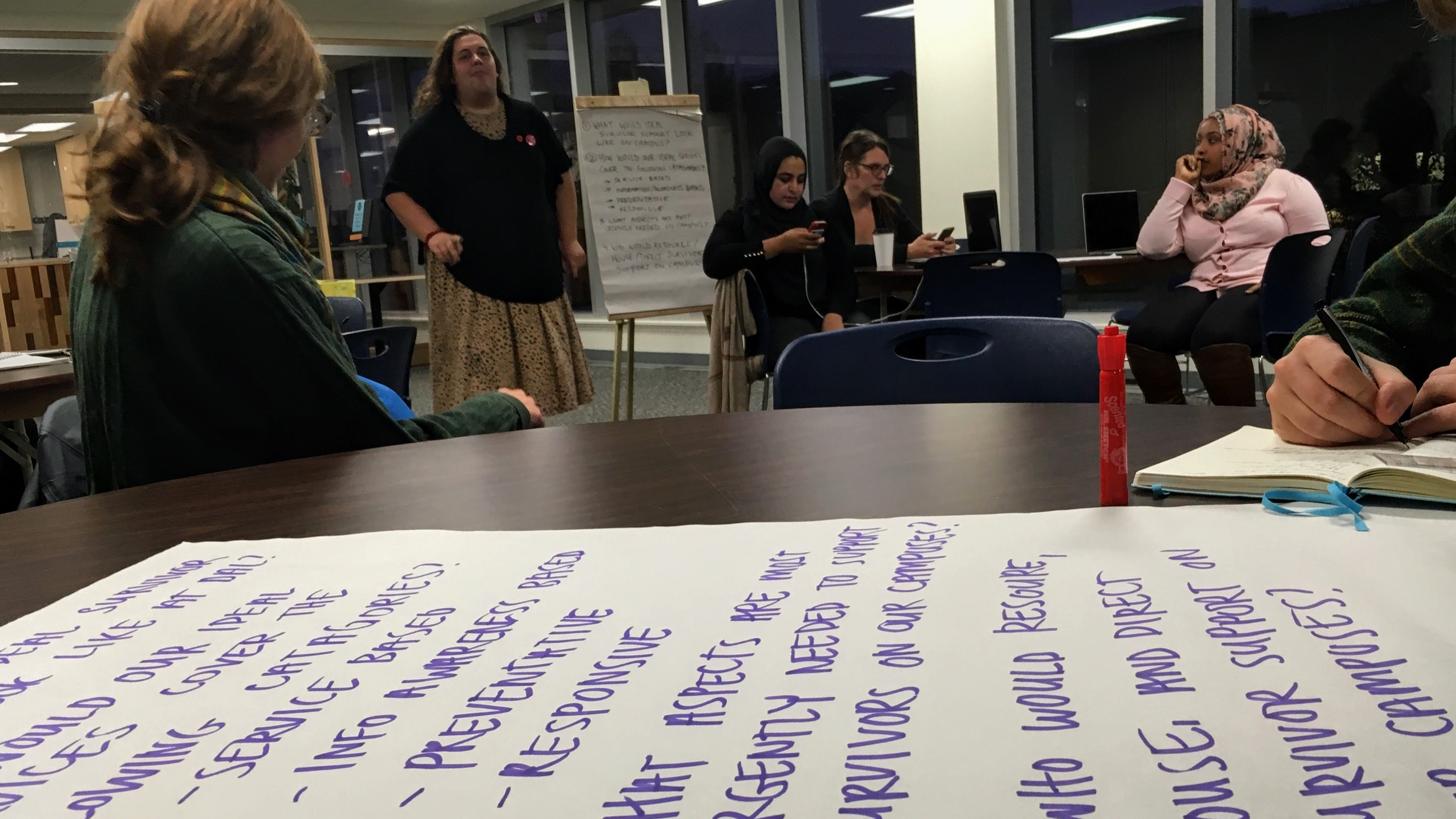 Rhiannon Makohoniuk, standing, presents some ideas that her table discussed during the strategy session.