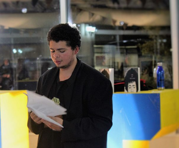 Fenton performs his poem, 'Alive', at Nocturne: Art at Night festival.