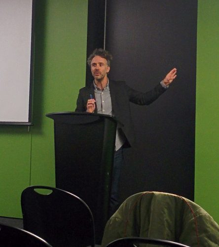Dr. Ian Reilly speaking about the Yes Men's form of activism.