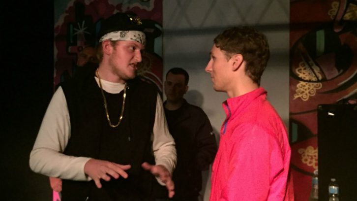 Noah Carter, 18, takes heat from opponent at Emerge rap battle.