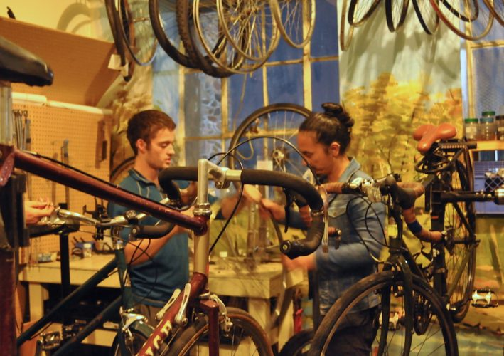 Evan Groen and MooJin Lee talk about how the spokes on a bike wheel affect the brakes.