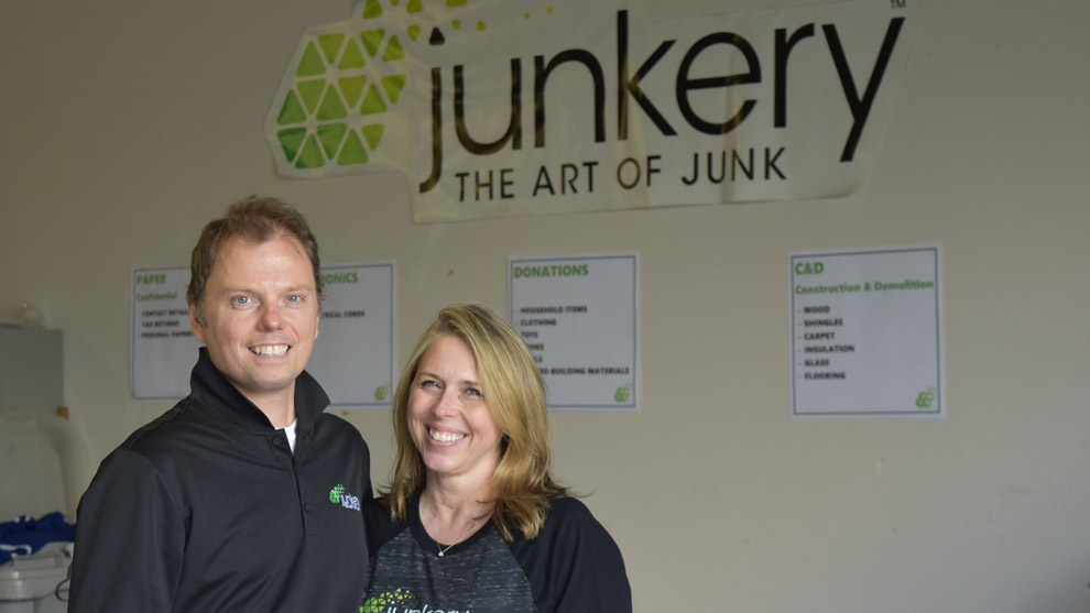 Ginny Sterling Boddie and John Boddie at the Junkery warehouse.