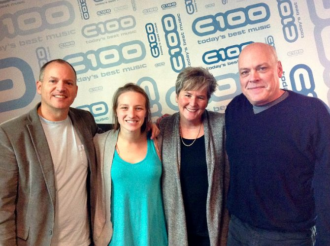 The C100 morning show team: JC Douglas, Gwen, Moya Farrell, and Peter Harrison.