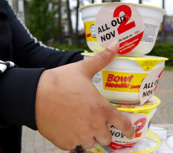 Bowls of ramen noodles advertising the Canadian Federation of Student's day of action on Nov. 2.