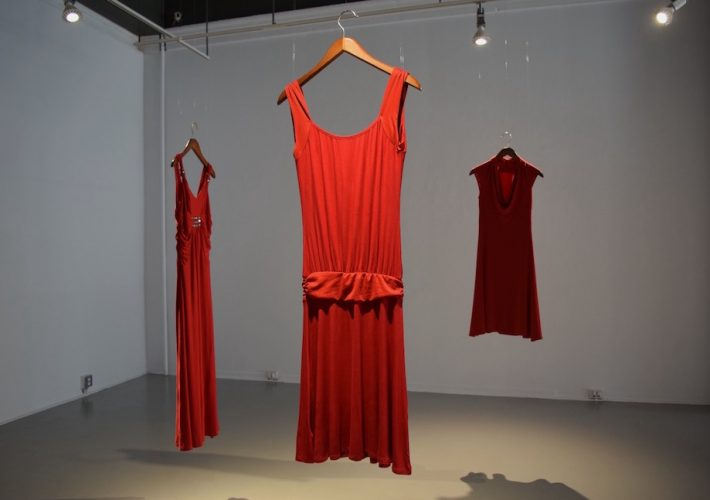The REDress Project exhibit at the Anna Leonowens Gallery features nine donated dresses.