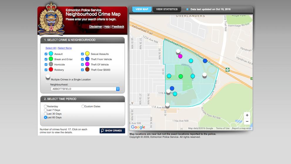 Edmonton police service crime map