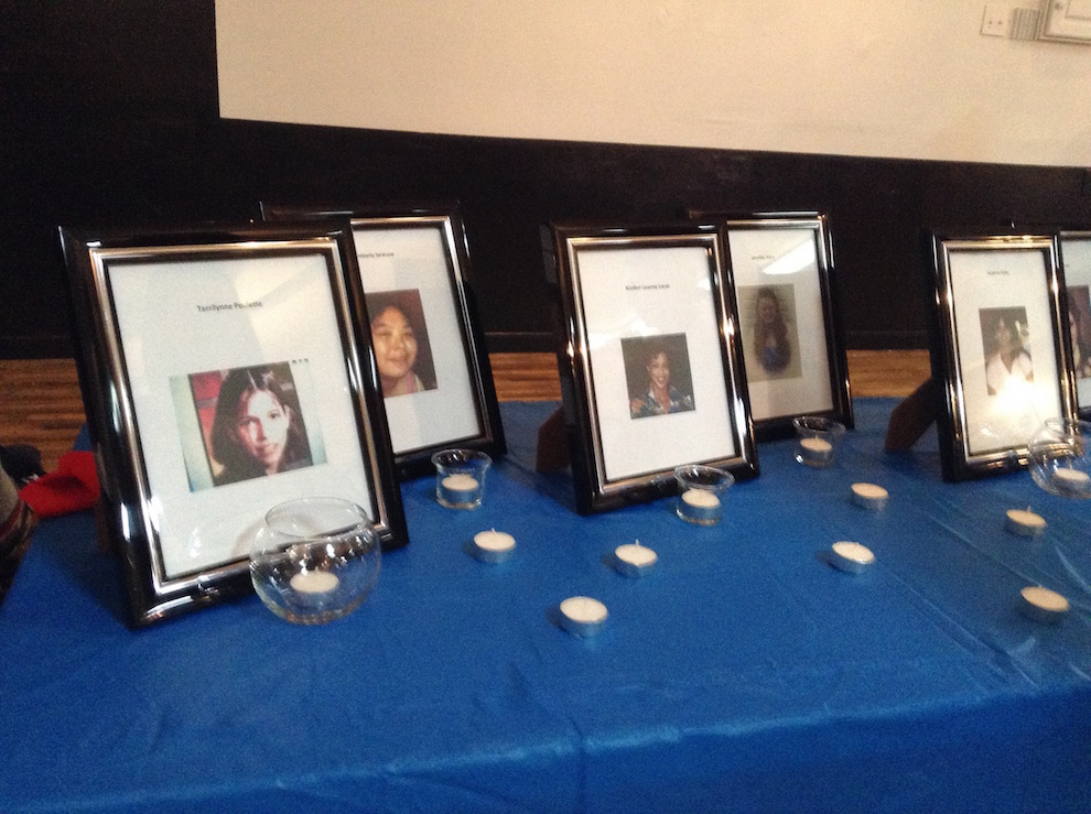 A display of pictures of missing and murdered indigenous men and women displayed at the Mi'kmaw Native Friendship Centre last October.