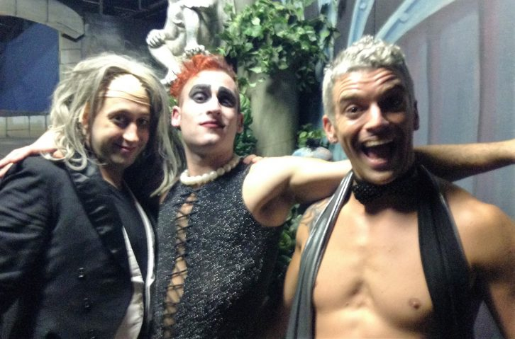 Adam Thayne, Ricky Jess and Brian Hart pose as Riff Raff, Frank 'N' Furter and Rocky.