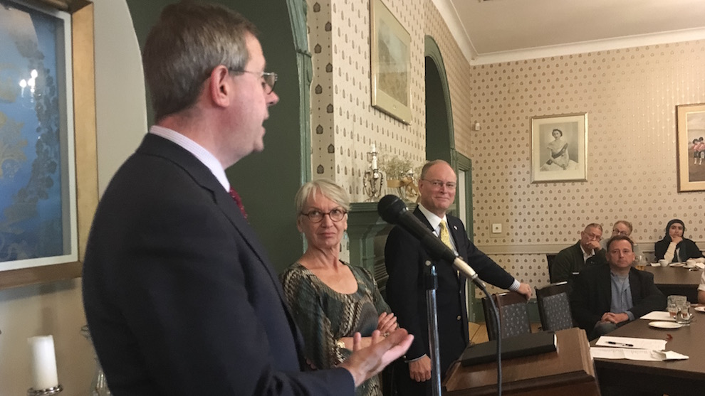 Speaker Christopher Sands, left, with Valerie Bachynsky, president of CIC's Halifax branch, and David Gough, chair of the Atlantic chapter of AMCHAM.