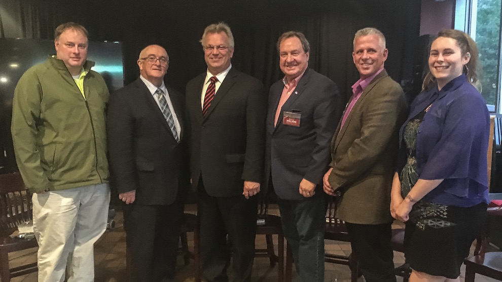 From left: Andrew Curran (District 10 candidate), Russell Walker (District 10 councillor), Stephen Adams (District 11 councillor), Bruce Holland (District 12 candidate), Scott Guthrie (District 12 councillor) and Dawn Penney (District 11 candidate) at Vinnie's Pub.