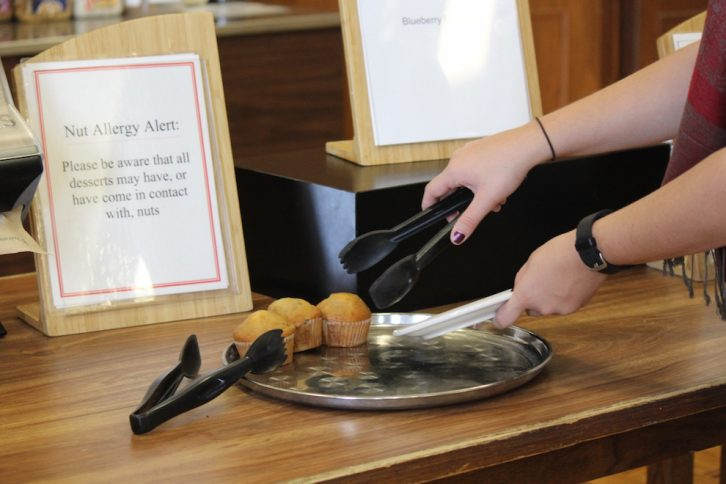 In the King's meal hall, all nut products are kept on a separate table.