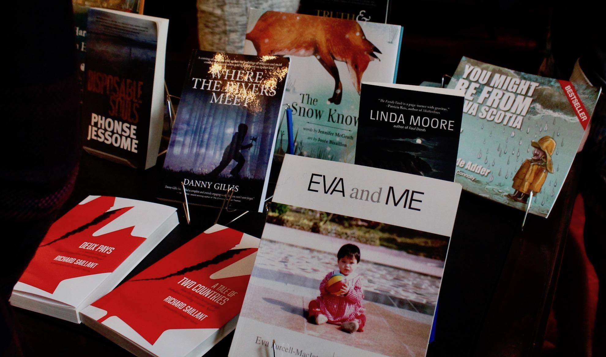 Titles on display by Halifax publishing house Nimbus Publishing.