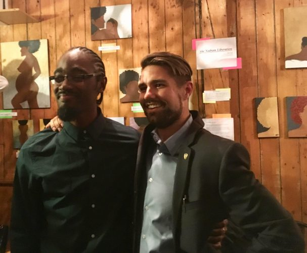 Lindell Smith celebrates his victory in District 8- Halifax Peninsula North with former opponent Brenden Sommerhalder.