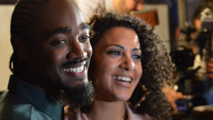 Lindell Smith and girlfriend Verena Rizg pose for photos on election night.
