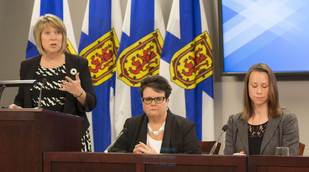 (Left to right) Minister of Labour and Advanced Education, Kelly Regan, Minister of Community Services, Joanne Bernard (middle), and Pheonix Youth Programs Executive Director, Melanie Sturk announce more comprehensive funding for programs helping low-income Nova Scotians afford  post-secondary education.